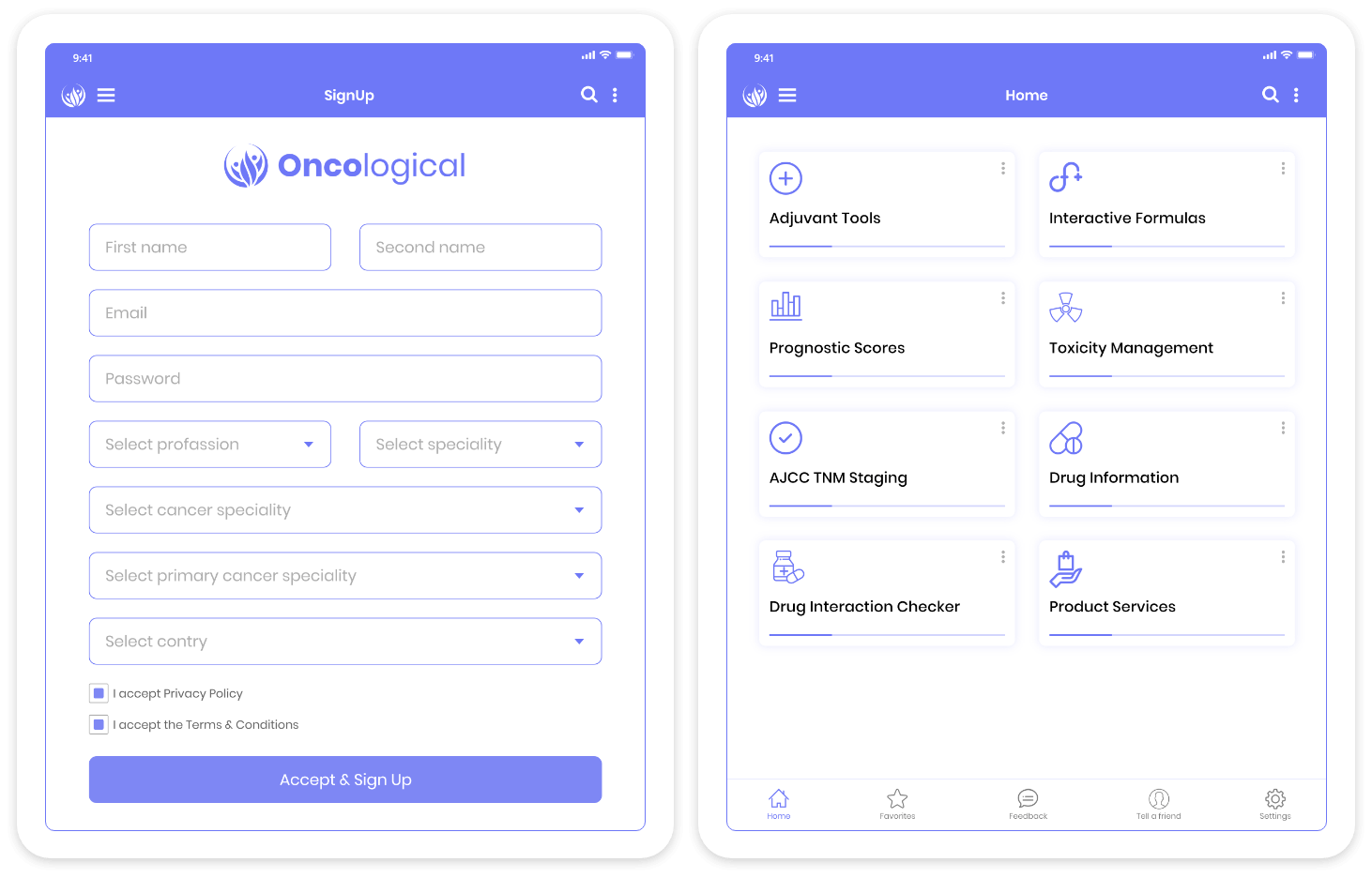 Oncological Support Tool Tablet Mockup
