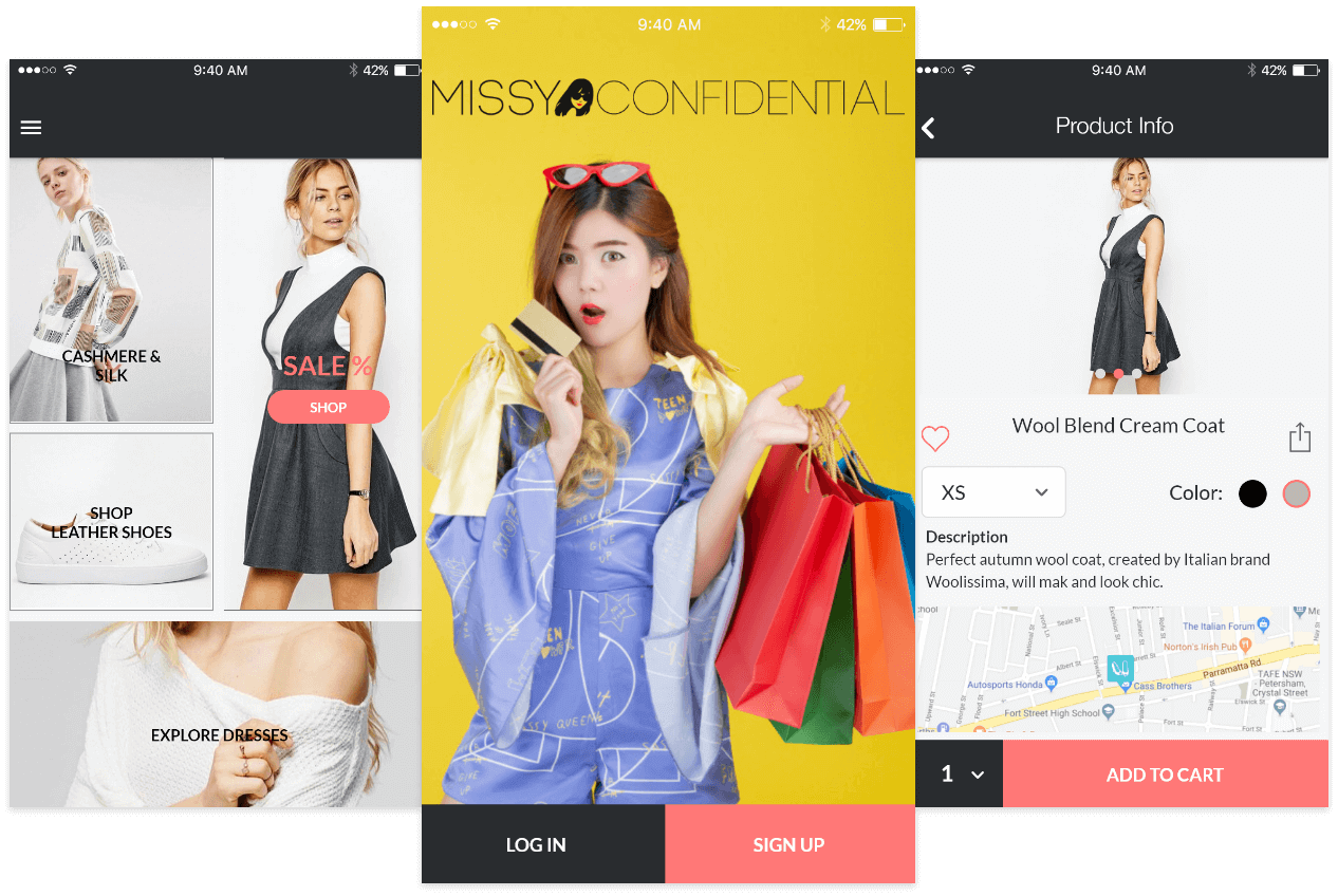 Missy Confidential Mobile Screens Mockup